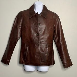Steve Madden Brown Red Button Leather Jacket S